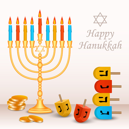 Happy jewish hanukkah concept background. Realistic illustration of happy jewish hanukkah vector concept background for web design Ilustração