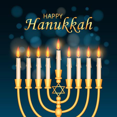 Happy hanukkah concept background. Realistic illustration of happy hanukkah vector concept background for web design Stock Photo