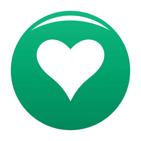 Affectionate green heart icon, vector illustration.