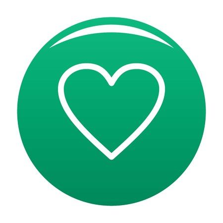 Ardent green heart icon, vector illustration.