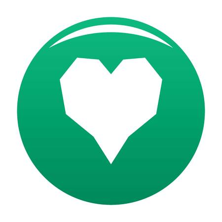 Angular heart icon. Simple illustration of angular heart vector icon for any design green Vectores