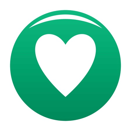 Open green heart icon, vector illustration.