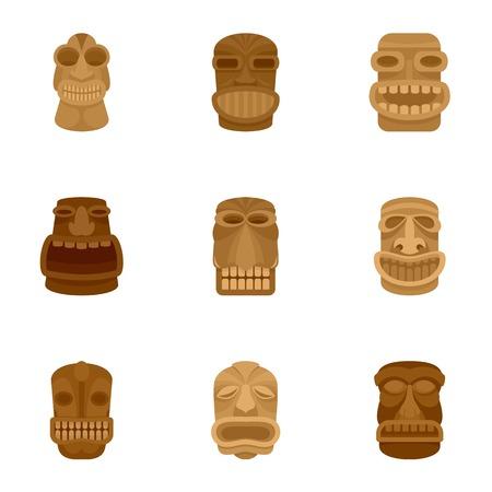 Tiki-Idol-Icon-Set. Flacher Satz von 9 Tiki-Idol-Symbolen für Webdesign