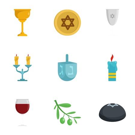 Judaism icon set. Flat set of 9 Judaism icons for web design