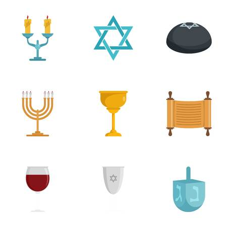Jewish icon set. Flat set of 9 Jewish icons for web design