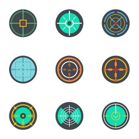 Target icon set. Flat set of 9 target icons for web design