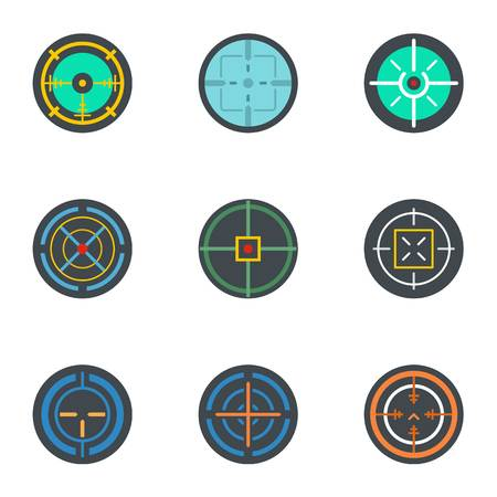 Aim icon set. Flat set of 9 aim icons for web design Stock Photo