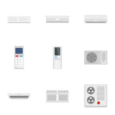 Air conditioner icon set. Flat set of 9 air conditioner icons for web design