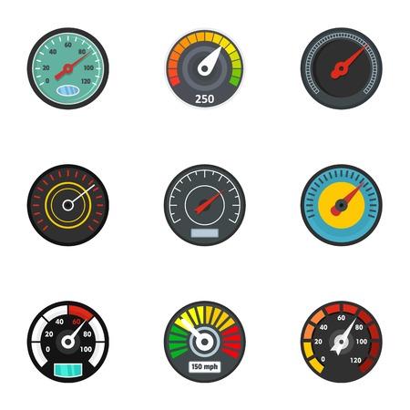 Speedometer icon set. Flat set of 9 speedometer icons for web design