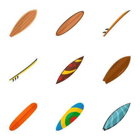 Colorful surf board icon set. Flat set of 9 colorful surf board icons for web design Banco de Imagens