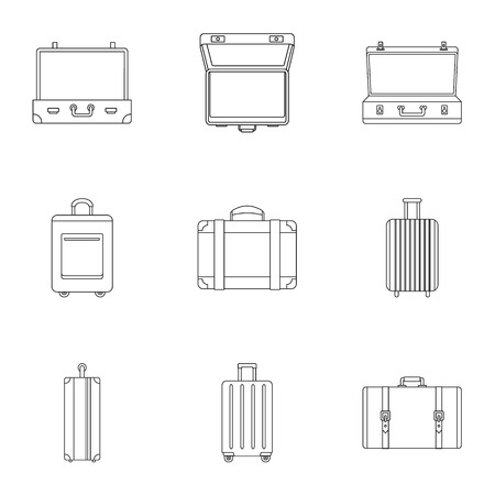 Travel bag icon set. Outline set of 9 travel bag icons for web design isolated on white background