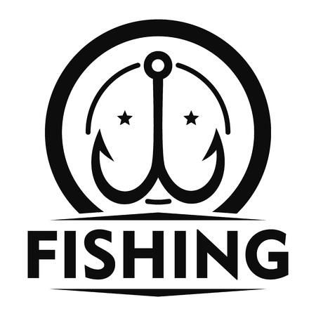 Double fish hook logo. Simple illustration of double fish hook logo for web design isolated on white background 免版税图像
