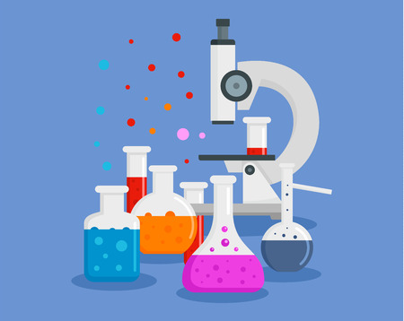 Microscope chemical flask concept background. Flat illustration of microscope chemical flask concept background for web design Foto de archivo - 110880491