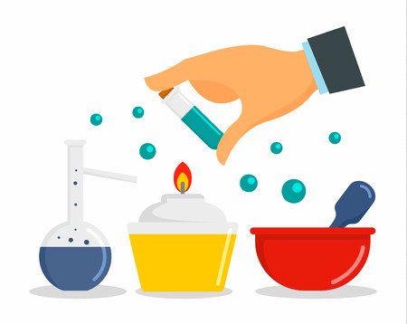 Chemical laboratory concept background. Flat illustration of chemical laboratory concept background for web design Banque d'images - 110880492