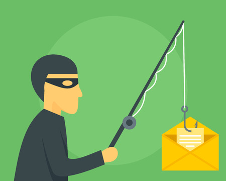 Phishing mail concept background. Flat illustration of phishing mail concept background for web design