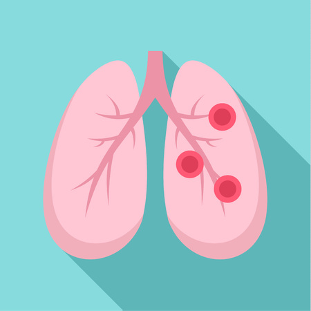 Bronchitis lungs icon. Flat illustration of bronchitis lungs icon for web design