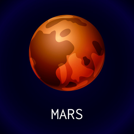Mars planet icon, cartoon style Illustration