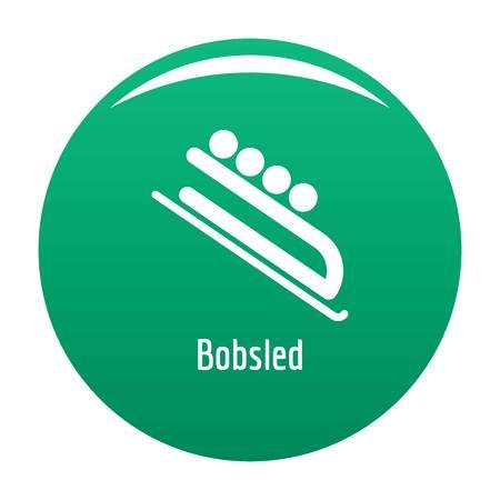 Bobsled icon vector green Illustration