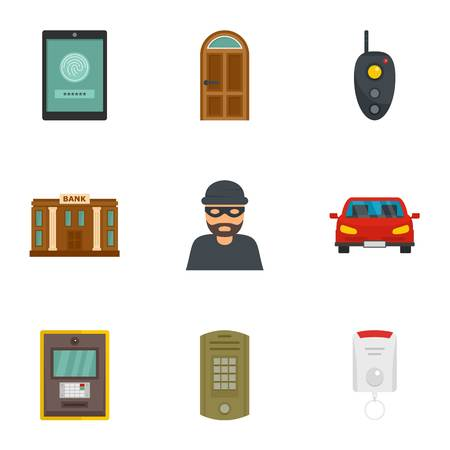 Finance security icon set, flat style