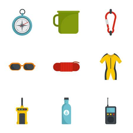 Camp travel icon set, flat style Banque d'images