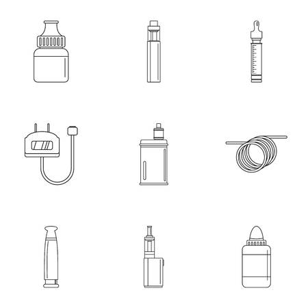 Electronic cigar device icon set, outline style
