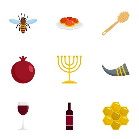 Jewish holiday icon set, flat style Stok Fotoğraf