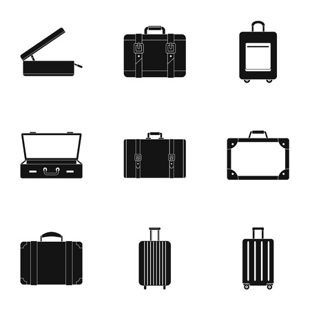 Trip luggage icon set, simple style