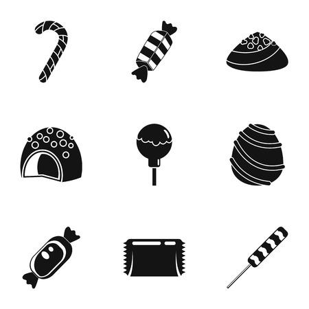 Sweet bonbon icon set, simple style Banco de Imagens
