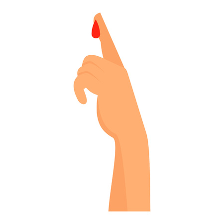 Finger blood test icon, flat style