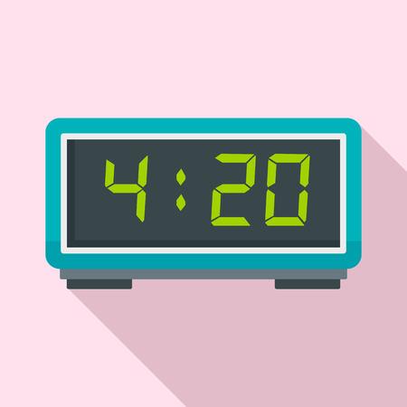 Digital alarm clock icon, flat style