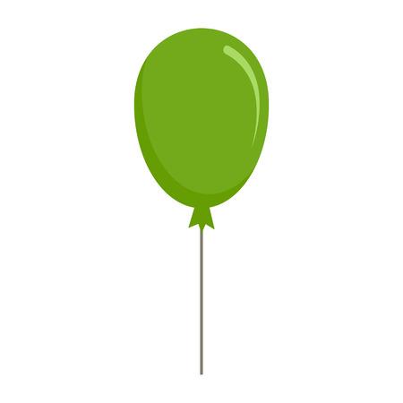 Green balloon icon, flat style