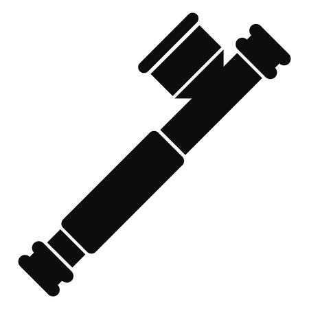 Marijuana smoke pipe icon, simple style