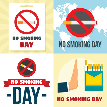 No smoking day banner set, flat style