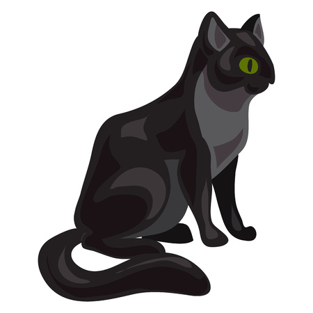 Black cat icon, cartoon style Stock Photo