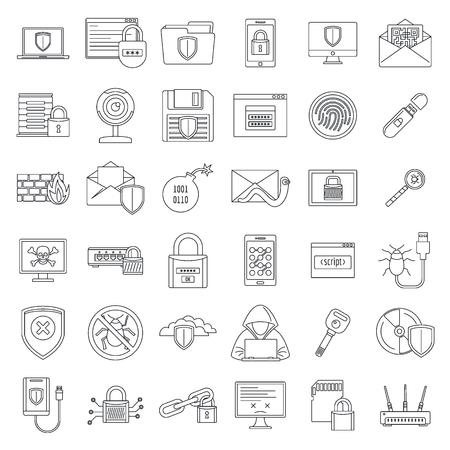 Internet security icon set, outline style Stock Photo