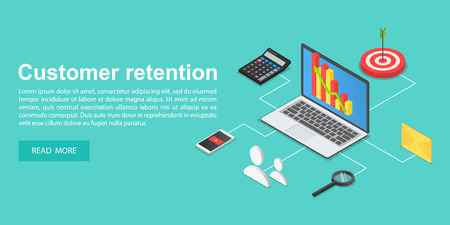 Client attraction concept banner, isometric style