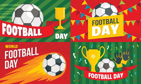Football day banner set, flat style Stock Illustratie