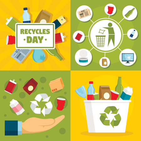 Recycles day banner set, flat style