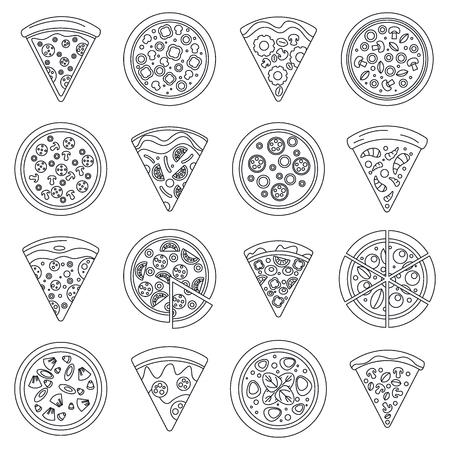 Jeu d'icônes de tranche de pizza, style de contour