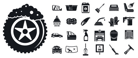 Cleaning car wash icon set, simple style