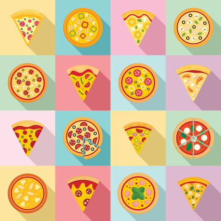 Pizza icon set, flat style Vettoriali