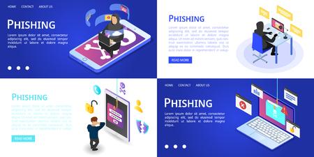 Phishing banner set, isometric style Stock Illustratie