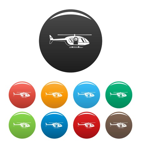 Hospital helicopter icons set color