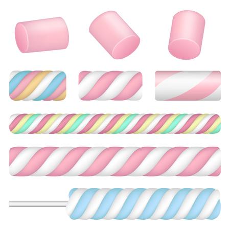 Marshmallow icon set, realistic style
