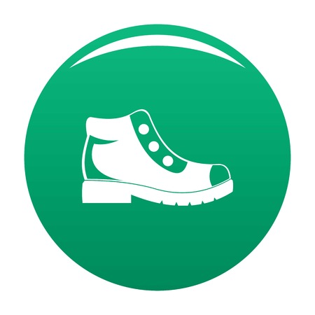 Hiking boots icon vector green