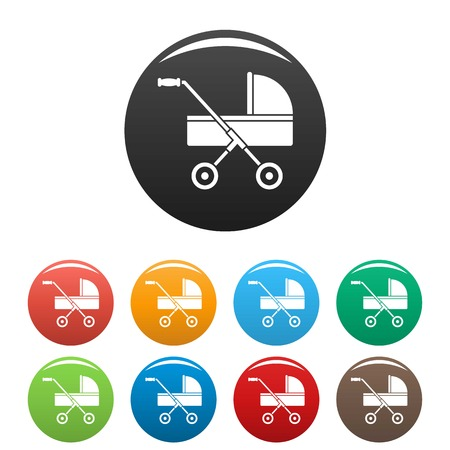 Modern baby carriage icons set color