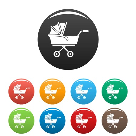 Kid trolley icons set color