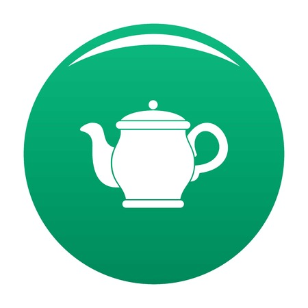 Beautiful teapot icon vector green Illusztráció