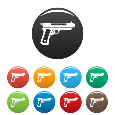 Gangster pistol icons set color Archivio Fotografico