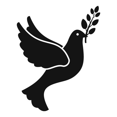 Peace pigeon icon, simple style